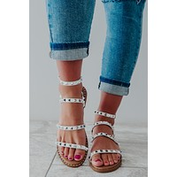 In The Zone Sandals: White/Silver