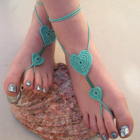 Mint Green Barefoot sandales - Crocheted Heart Anklet - Beaded Foot Jewelry - Beach Wedding - Soleless - Bridesmaid accessory