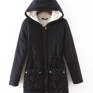 new winter cotton padded medium long slim hooded women jacket