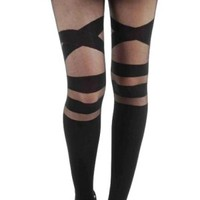 V Strap Sheer Tights Black Pamela Mann