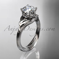 """Platinum diamond flower, leaf and vine wedding ring, engagement ring with a """"Forever One"""" Moissanite center stone ADLR240"""