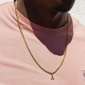 Gold Cuban Initial Necklace
