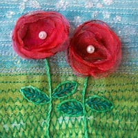 5 inch square card - embroidered card  - organza flower card  - fabric art greeting card  -  textile art - wedding gift card