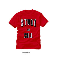 Netflix and Chill Remake Study Red Tee College University Campus kids Typography Unisex Mens Women Crewneck T shirt Dorm Gift