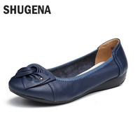Women's Handmade genuine leather ballet flat shoes casual shoes