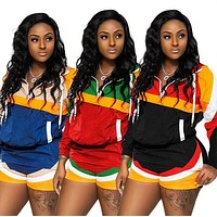 Womens clothing long sleeve shorts outfits two piece set sexy stripe tracksuit jogging sport suit sweatshirt tights sport suit klw0676