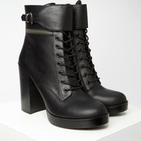 Faux Leather Lace-Up Booties