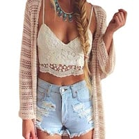 Women Crop Top Halter Crochet Tops Deep V Neck Bralette  Vintage Lace Camisole Bandage Backless Top 2016 Summer Fashion