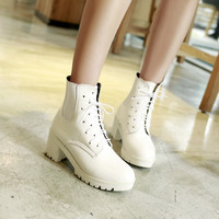 Lace Up Ankle Boots Square Heel Women Shoes Fall|Winter 6809