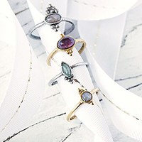Free People Womens Crystal Friendship Ring Set