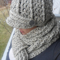 Crochet Newsboy Hat and Scarf Set  Oatmeal by SoLaynaInspirations