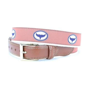 Whale Tale Leather Tab Belt in Off Purple by Country Club Prep