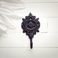 Shabby Chic Cast Iron Wall Hook / Black Decor / Metal Hook / French Country Decor / Ornate / Cottage Chic / Gift Ideas / Entry Way Hook