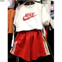 NIKE Fashion upper print monogram under side double line casual two piece  White-red