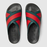 GUCCI GG Slide sandal with Web Shoes slippers Black&Green
