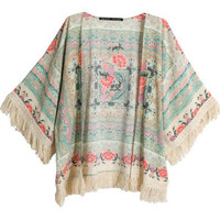 Vintage Floral Kimono with Tassled Batwing Sleeves
