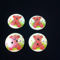Sweet Teddy Bear Wood Buttons/Two Holes / Kid's Sewing Crafts Accessories/ DIY craft supplies / Novelty Buttons