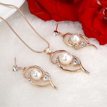 Hesiod New Design Simulated Pearl Stud Earrings Necklace Wedding Jewelry Sets for Women Lover Gifts
