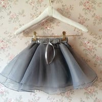 Flower Girl Skirt, Flower Girl Tutus, Gray Tulle Skirt , Flower Girls Tulle Skirt , little princess tutus -Girls tutus - Toddler Tutu Skirt