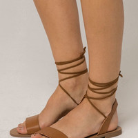 DEL MAR Cognac Ankle Wrap Womens Sandals
