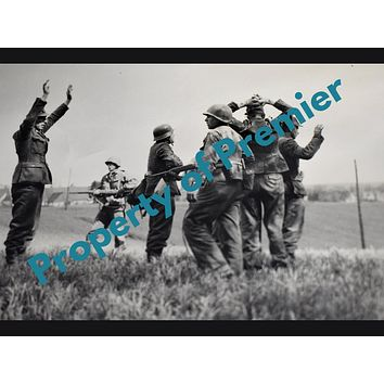 US Military WWII Signal Corp Photograph Infantry Rounding Up Germans