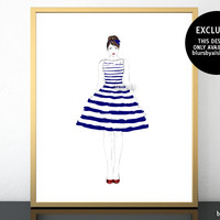 """Printable fashion illustration of a navy blue and white stripped summer dress, 8x10"""" & 16x20"""""""