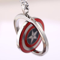 Captain America Choker Necklace Iron Man Rotatable Pendant Men Women Gift Movie Anime Jewelry Accessories YS11383