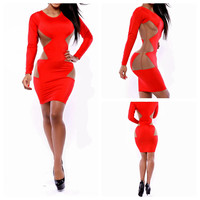 Red Long Sleeve Bodycon Dress with Side Mesh Cut-Out