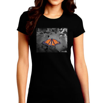 Monarch Butterfly Photo Juniors Petite Crew Dark T-Shirt