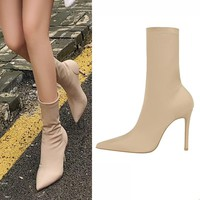 EOEODOIT High Stiletto Heels Boots Women Sexy Pointy Toe Stocking Sock Shoes Pumps Boots Mid Calf Spring Autumn Booties 10 cm