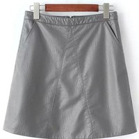 A Line Solid Color PU Leather Skirt