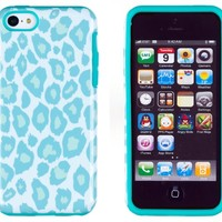 DandyCase 2in1 Hybrid High Impact Hard Sea Green Leopard Pattern + Silicone Case Cover For Apple iPhone 5C + DandyCase Screen Cleaner