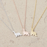 Gold/ Silver/ Pink-gold  Dinosaur Necklace
