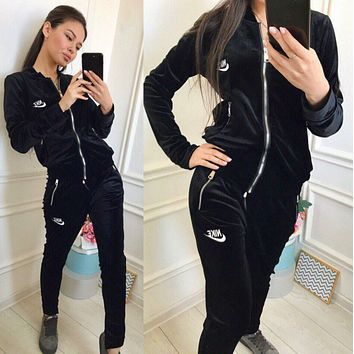 NIKE Women Casual Round Collar Top Pants Set Two-Piece Black