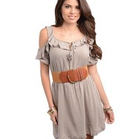 G2 Chic Women's Belted Cut Out Cold Shoulder Ruffled Cotton Dress(DRS-CAS,LBN-S)