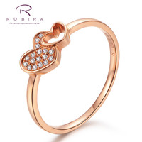 Robira Heart in Heart Shape Shiny Diamond Wedding Ring 18K Rose Gold Love Romantic Finger Rings for Women Engagement Jewelry
