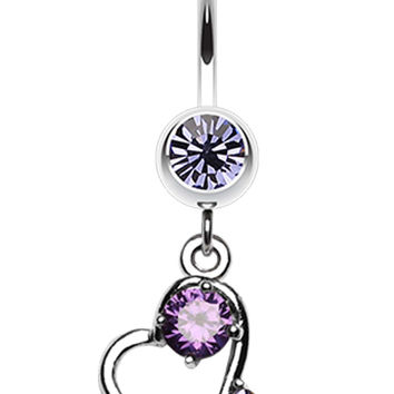Sparkling Heart Dangle Belly Button Ring