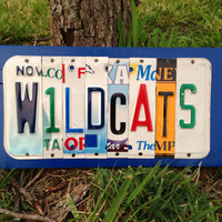 WILDCATS Custom Recycled License Plate Art Sign Ooak