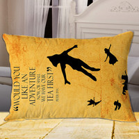 Peter Pan Quote on Rectangle Pillow Cover