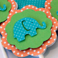 Polka Dot Elephant Its a Girl or Name Banner Pink and Turquoise Blue Baby Shower Party Decorations