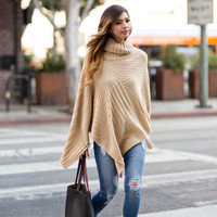 Shelby Beige Turtleneck Poncho
