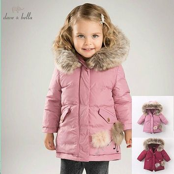 DB6098 dave bella winter baby girls down jacket children 90% white duck down padded coat kids hooded outerwear