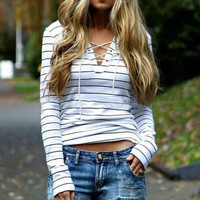 Stripe  Long Sleeved Drawstring Top