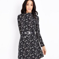 Black Floral Print Jersey Swing Dress | New Look