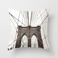 Pillow cover, vintage pillow, New York pillow, neutral color,black and white pillow, couch pillow,office decor,pillows,Brooklyn pillow~