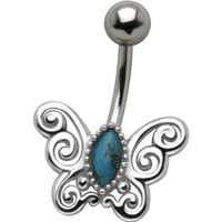 Cute Butterfly 925 Sterling Silver and Stainless Steel Belly Ring