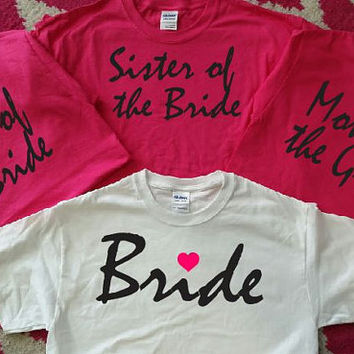 Bridal Shirts,Bridemaid Shirts,Team Bride,Bridesmaid,Bridal Party, Mother of the Bride, Mother of the Groom