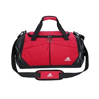 ADIDAS fashion men's and women's casual patchwork color large capacity duffel bag Red