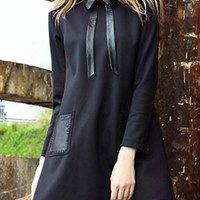 Black Patchwork Pockets Peter Pan Collar Mini Dress