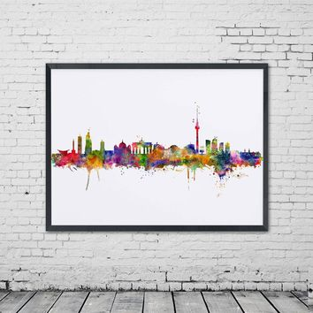 Watercolor Berlin City Poster Skyline Decor Wall Art Germany City Wall Hanging Painting Art Print Berlin Office Unique Poster
